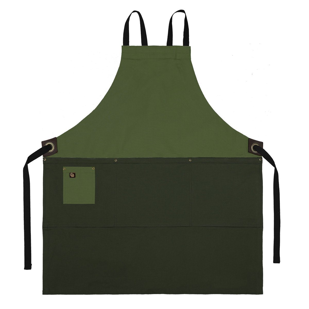 Koda Zelkova Full Bib Apron (Fern and Moss)