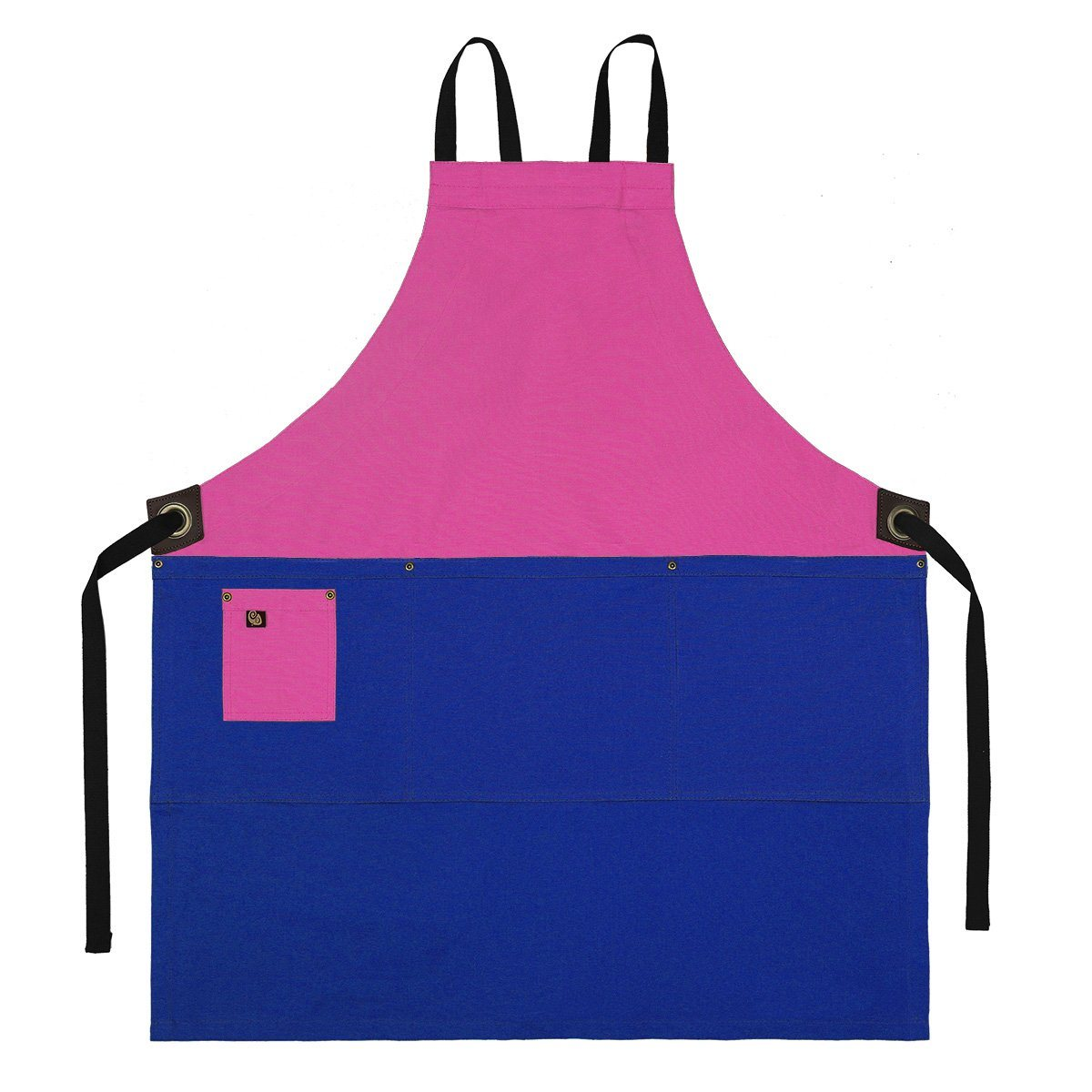 Koda Zelkova Full Bib Apron (Fuchsia and Marine Blue)