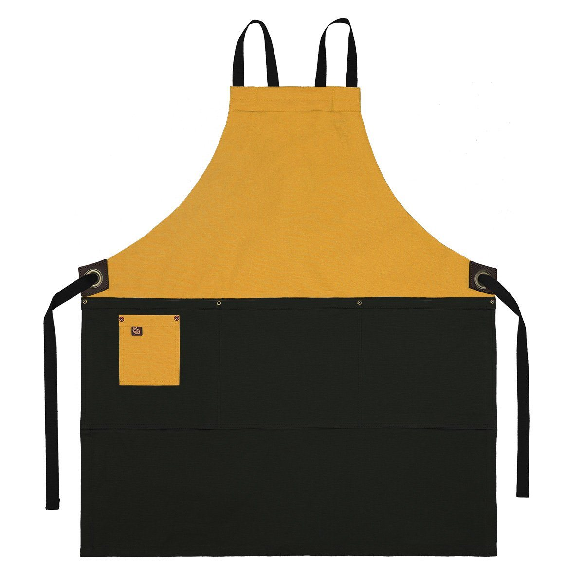Koda Zelkova Full Bib Apron (Gold and Black)