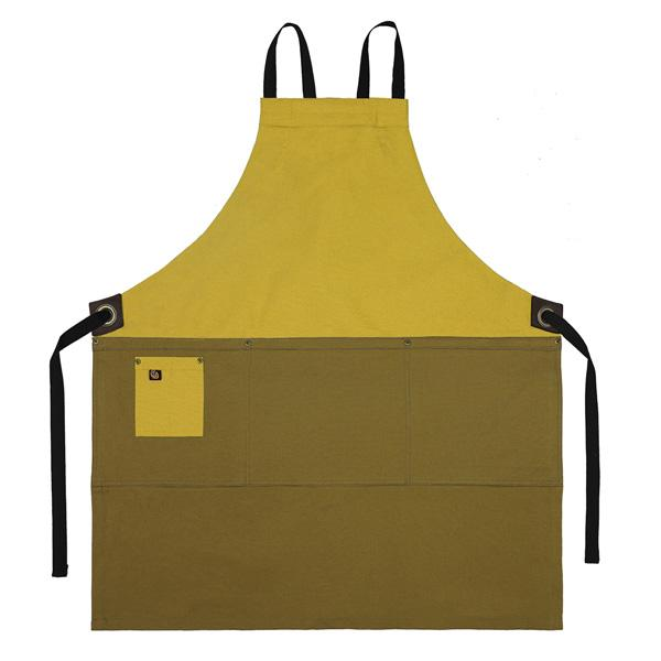 Koda Zelkova Full Bib Apron (Gold and Caramel)