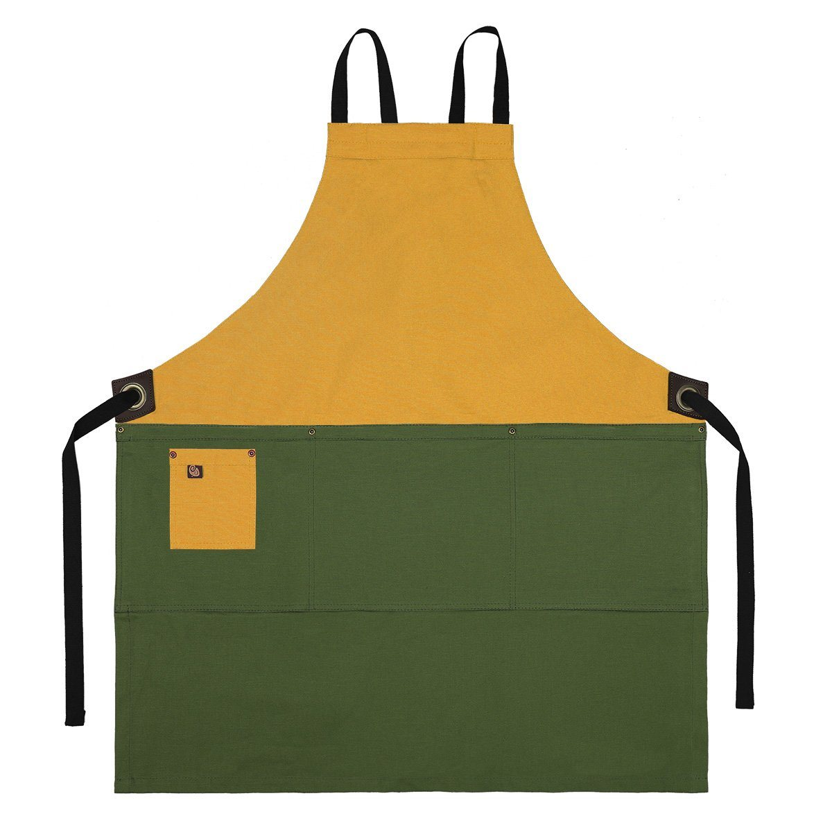 Koda Zelkova Full Bib Apron (Gold and Fern)