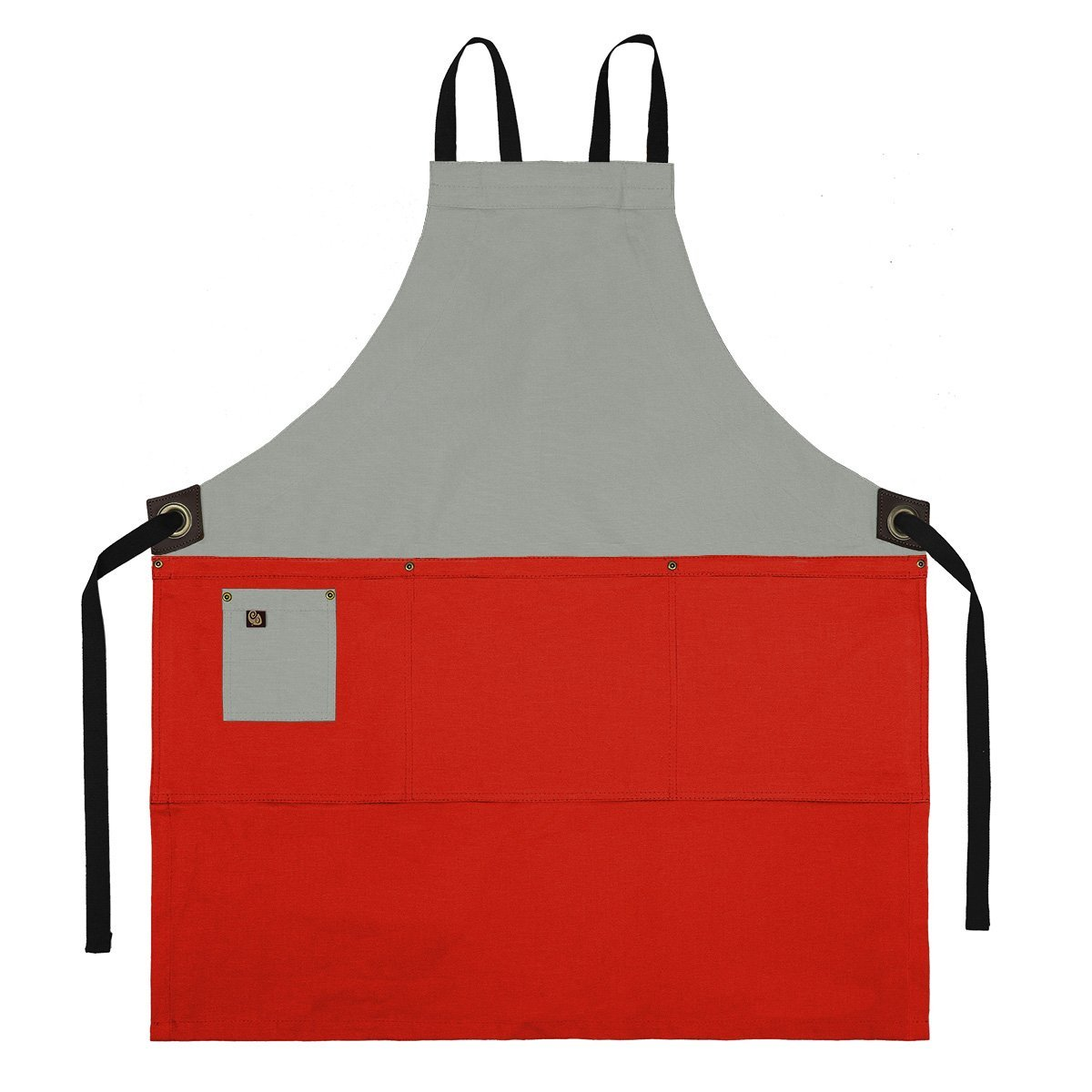 Koda Zelkova Full Bib Apron (Light Grey and Red)