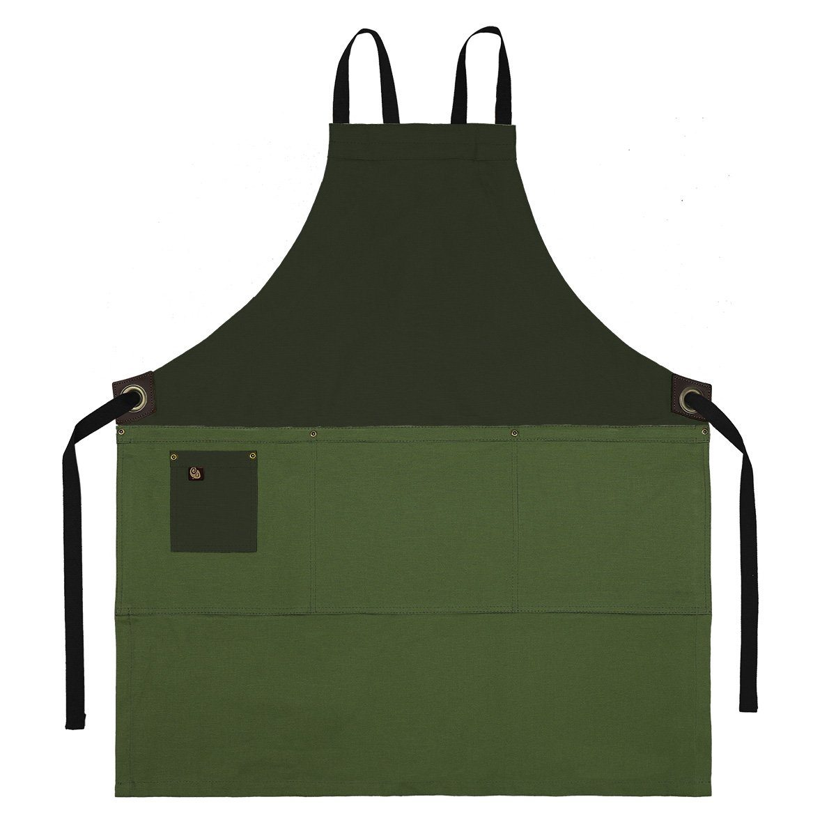 Koda Zelkova Full Bib Apron (Moss and Fern)