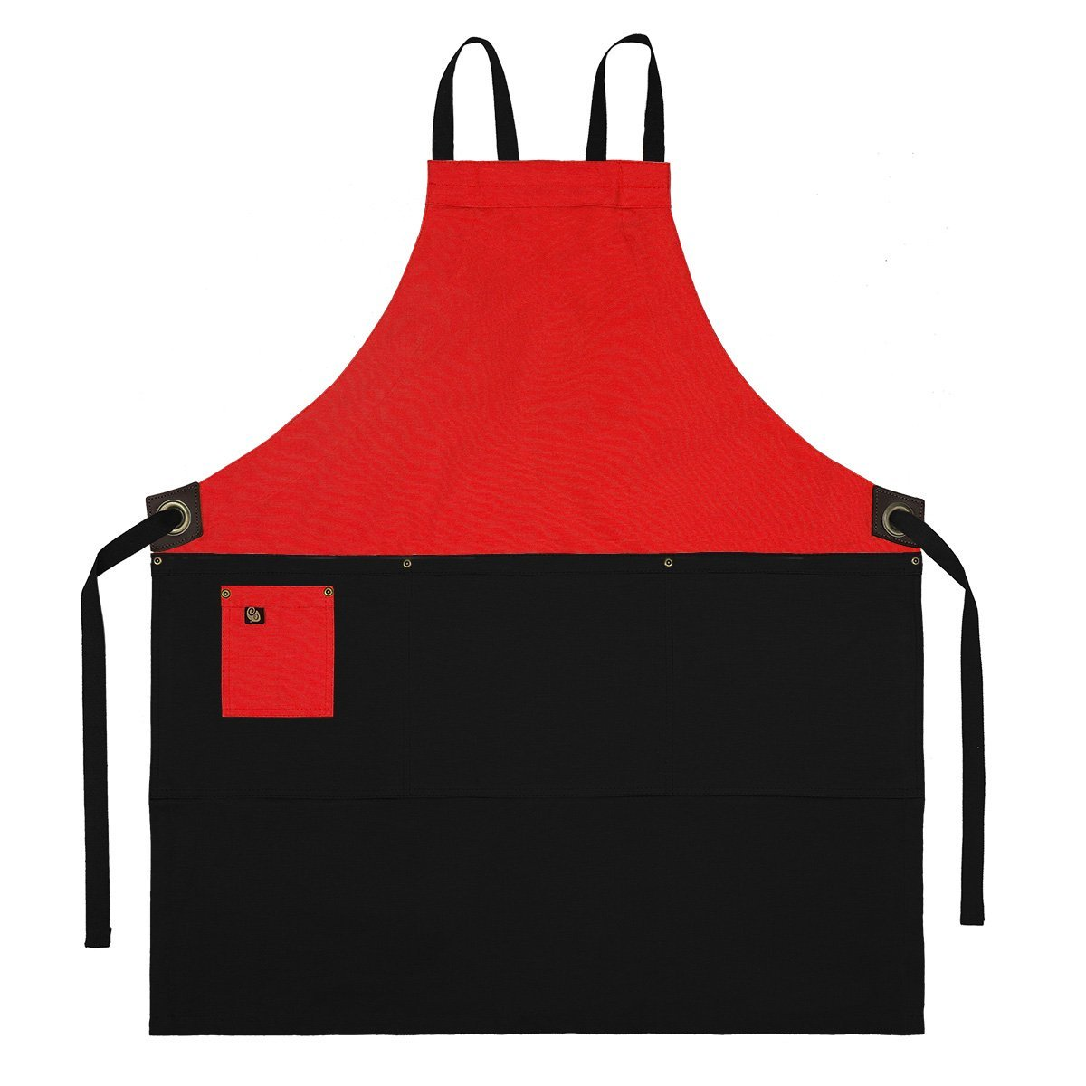 Koda Zelkova Full Bib Apron (Red and Black)