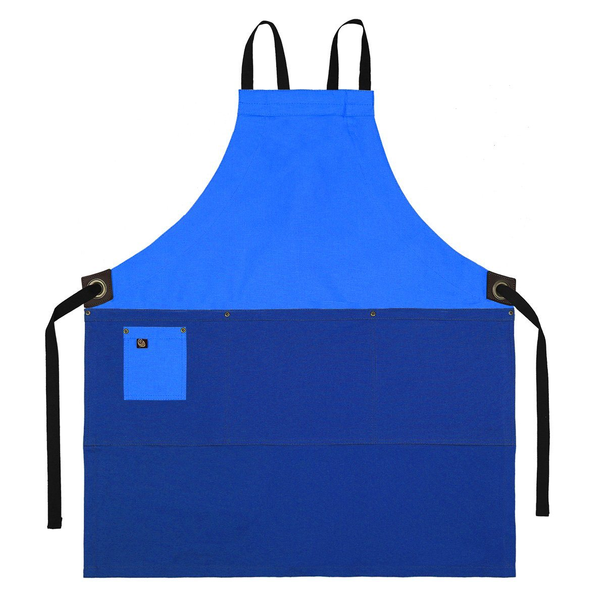 Koda Zelkova Full Bib Apron (Turquoise and Marine Blue)