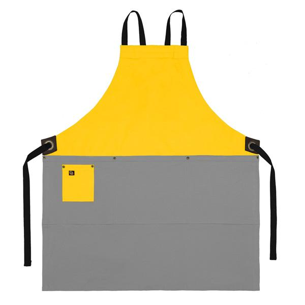 Koda Zelkova Full Bib Apron (Yellow and Light Grey)