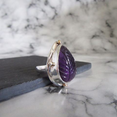 Carved Amethyst Chunky Ring