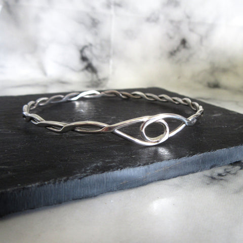 Silver Celtic Style Infinity Twist Bangle