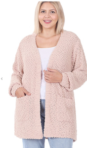 Dusty Blush Popcorn Cardigan Plus Sized