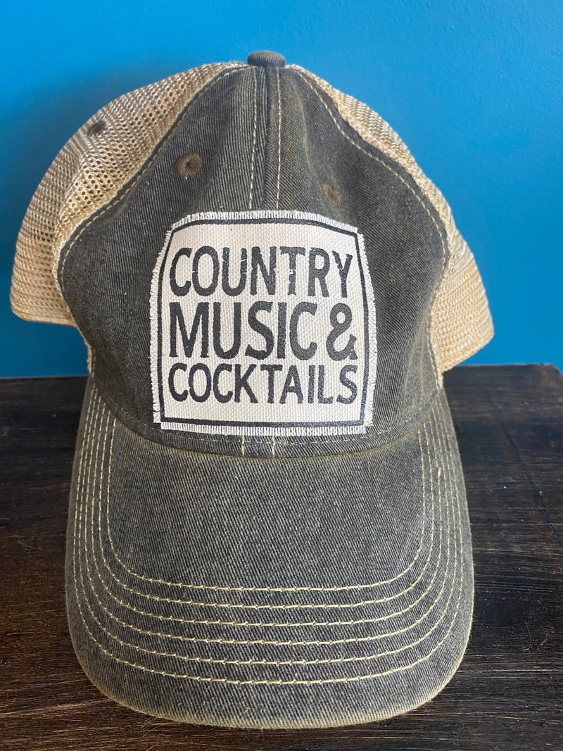 """Country Music & Cocktails"" Distressed Trucker Hat"