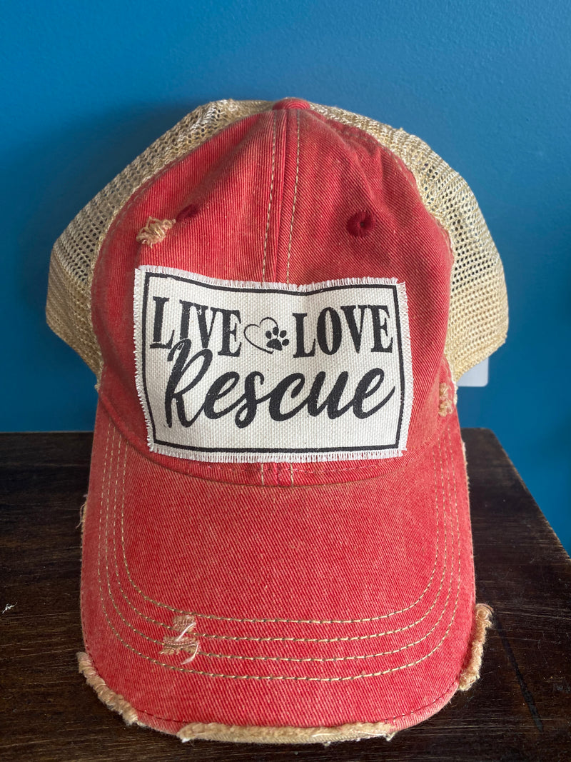 """Live Love Rescue"" Distressed Trucker Hat"