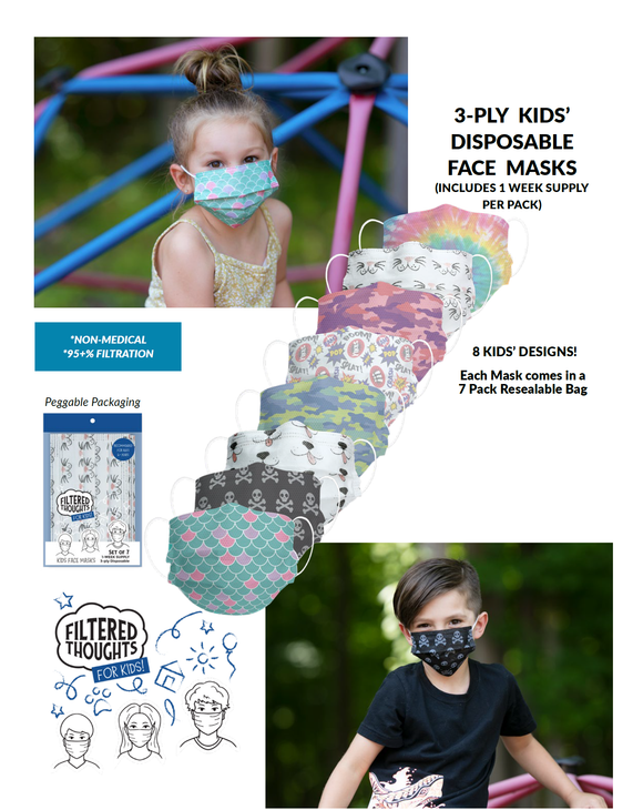 Kid's Disposable 3-Layer Face Mask (Set of 7)