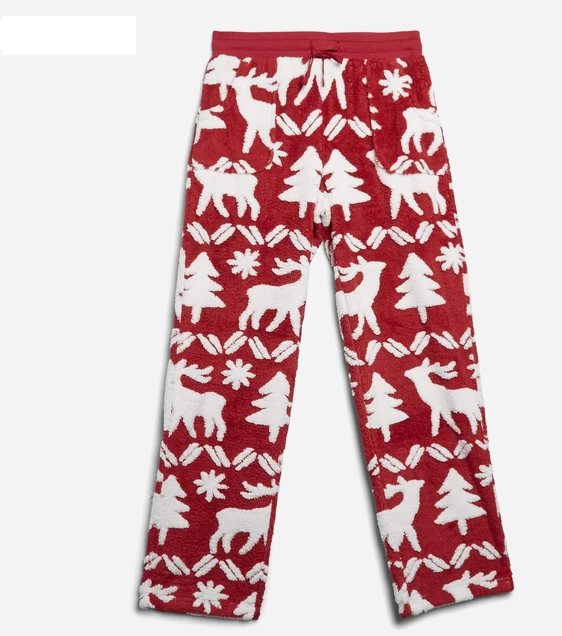 Reindeer Intarsia Red Jacquard Fleece Pajama Pants