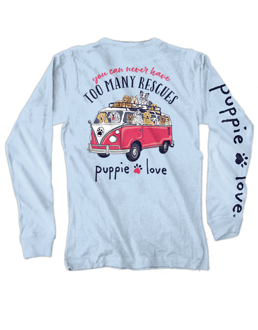 Puppie Love Rescue Bus Adult Long Sleeve Tee
