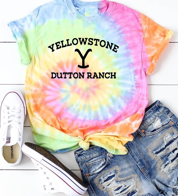 Tie Dye Yellowstone Dutton Ranch Short Sleeve Tee