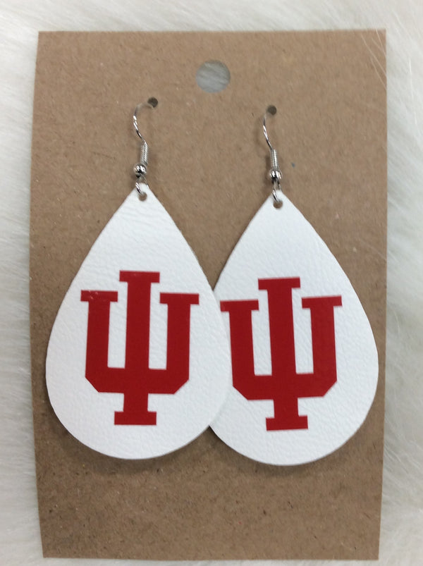 IU White Faux Leather Earrings
