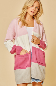 Pink Color Block Cardigan
