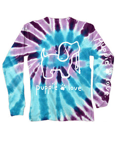 Puppie Love Tie Dye Pup Long Sleeve Tee