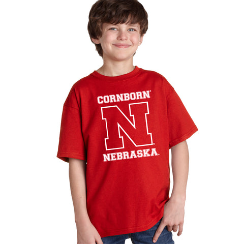 Youth Nebraska Huskers Boy's CornBorn N Nebraska Red T-Shirt
