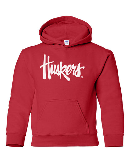 Youth Nebraska Huskers Legacy Script Black Hooded Sweatshirt with Pocket