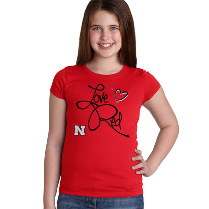 Youth Girls Red Nebraska Huskers Love Red Hearts T-Shirt