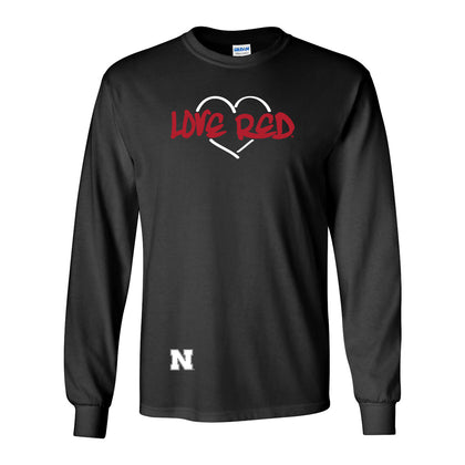 Women's Huskers Love Red Heart Long Sleeve T-Shirt - Black