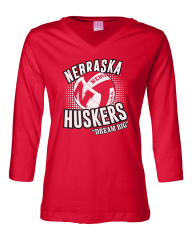 Women's Nebraska Huskers Volleyball Dream Big T-Shirt - Red