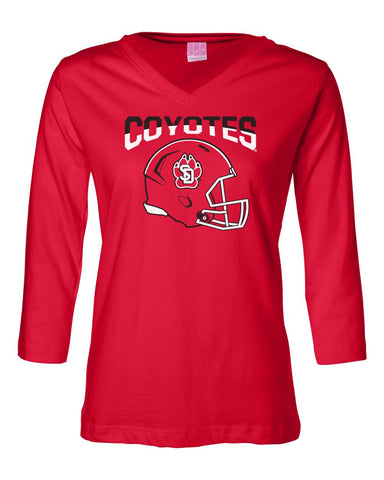 Womens Coyotes Apparel ¾ Sleeve V-Neck Tee Shirts