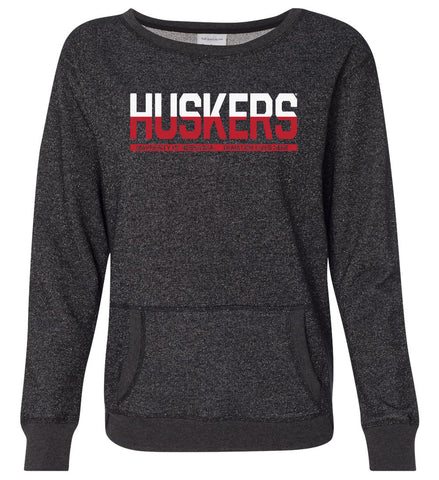 Women's Huskers Nebraska Glitter Fleece Sweatshirt - Black
