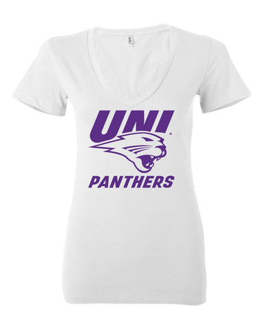 Womens UNI Panthers Apparel Short Sleeve V-Neck Tee Shirts