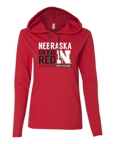 Womens Huskers Apparel Long Sleeve Hooded Tee Shirts