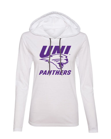 Womens UNI Panthers Apparel Long Sleeve Hooded Tee Shirts
