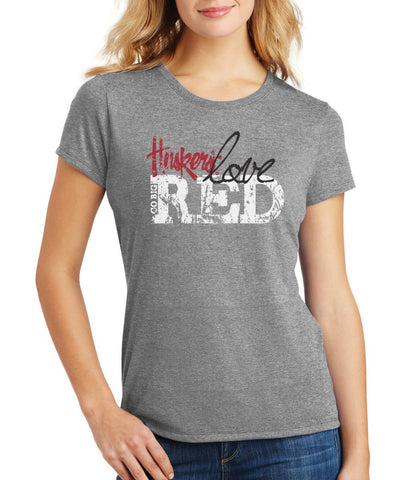 Women's Huskers Love Red T-Shirt