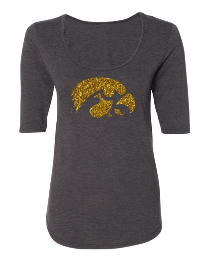 Womens Hawkeyes Apparel Premium Tri-Blend ½ Sleeve Scoop Neck Tee Shirts