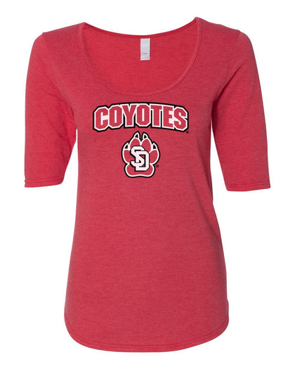 Womens Coyotes Apparel Premium Tri-Blend ½ Sleeve Scoop Neck Tee Shirts