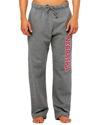 Nebraska Huskers Gray Fleece Sweatpants with Drawstring and Pockets
