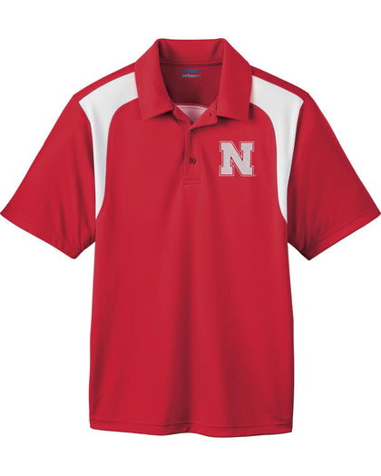 Men's Nebraska Huskers Polo Shirt Embroidered N - Red