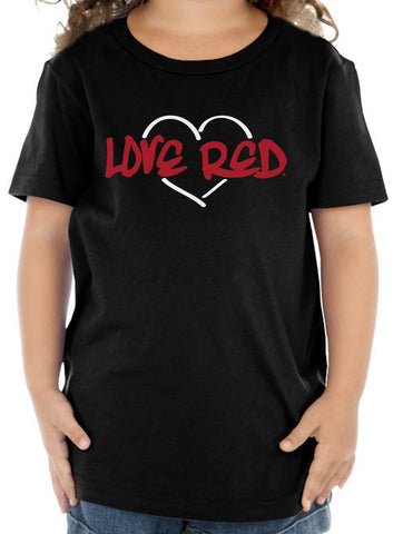 "Nebraska Toddler Tee Shirt - ""Love Red"" White Heart"