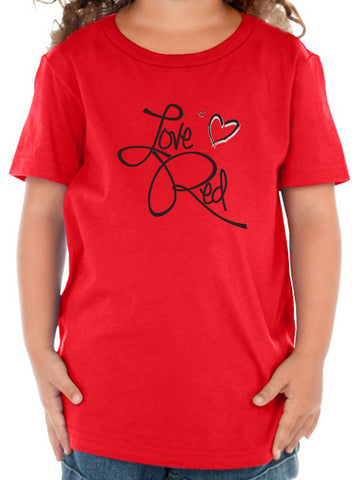 "Nebraska Toddler Tee Shirt - ""Love Red"" Hearts"