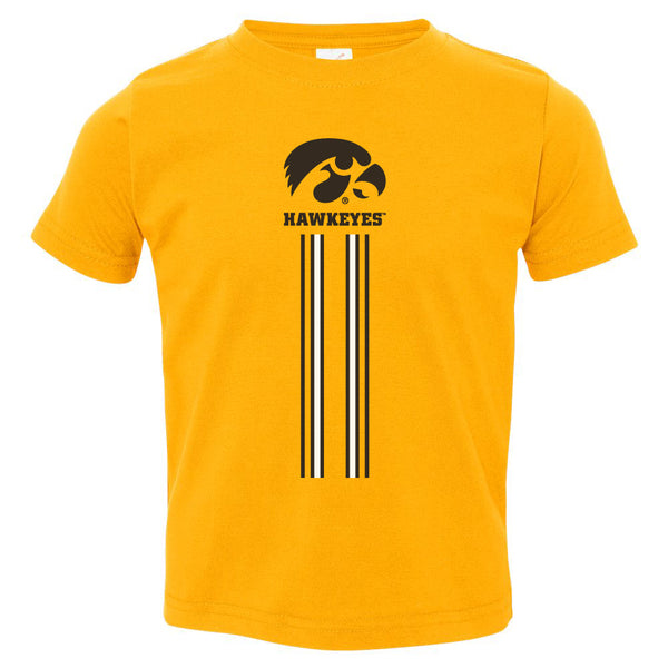 Iowa Hawkeyes Toddler Tee Shirt - IOWA Hawkeyes Vertical Stripe with Tigerhawk