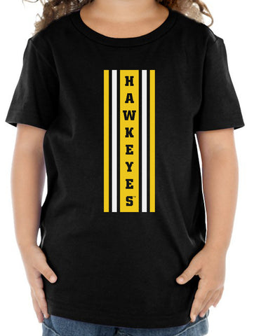 Iowa Hawkeyes Toddler Tee Shirt - Vertical Stripe with HAWKEYES