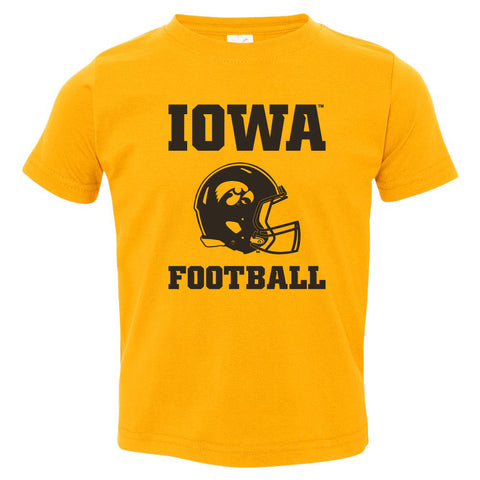 Iowa Hawkeyes Toddler Tee Shirt - Iowa Football Helmet on Gold