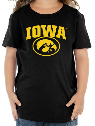Iowa Hawkeyes Toddler Tee Shirt - IOWA Oval Tigerhawk on Black
