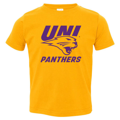 Northern Iowa Panthers Toddler Tee Shirt - Purple UNI Panthers Logo on Gold