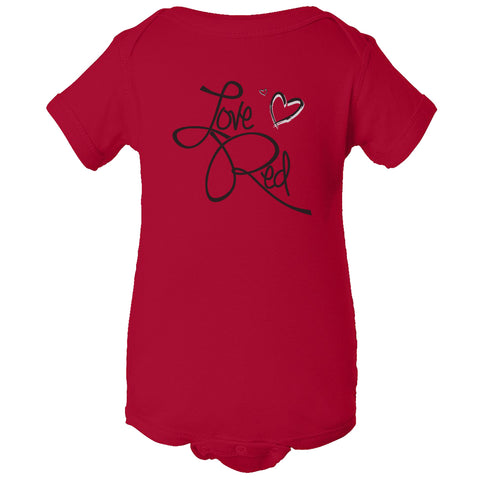 "Nebraska Infant Onesie - ""Love Red"" Hearts"