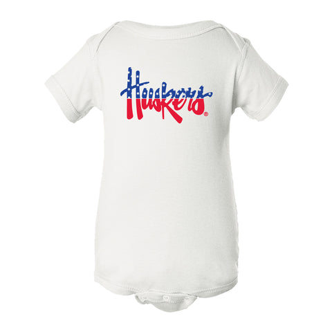 Nebraska Husker Onesie - Legacy Script Huskers Red White and Blue