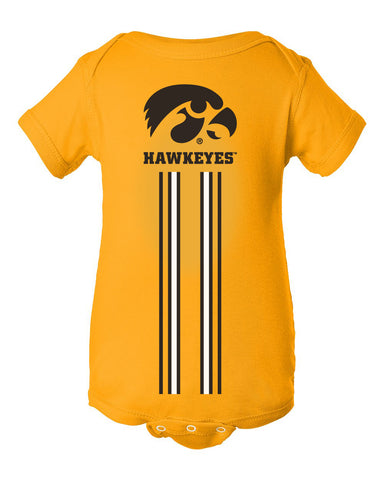 Iowa Hawkeyes Infant Onesie - IOWA Hawkeyes Vertical Stripe with Tigerhawk