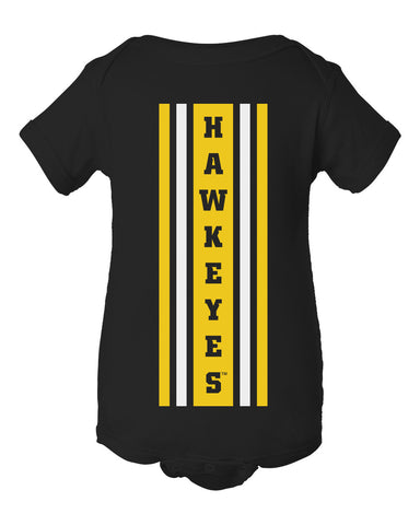 Iowa Hawkeyes Infant Onesie - Vertical Stripe with HAWKEYES