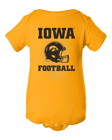 Iowa Hawkeyes Infant Onesie - Iowa Football Helmet on Gold