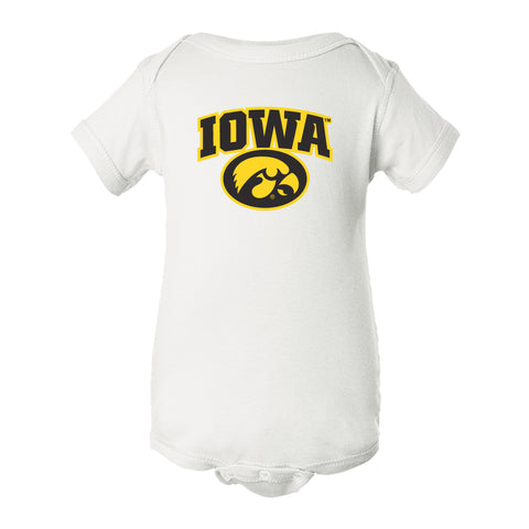 Iowa Hawkeyes Infant Onesie - IOWA Oval Tigerhawk on White